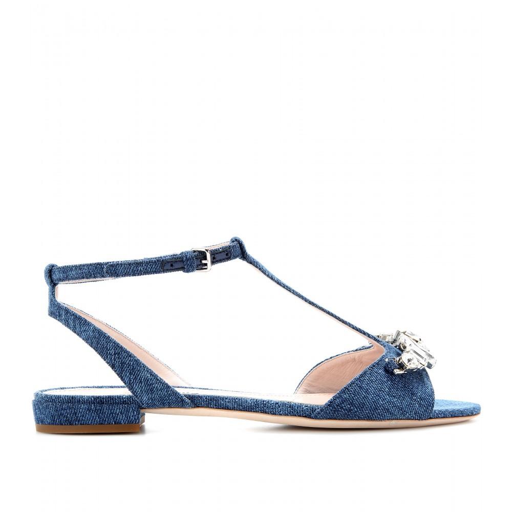Embellished denim sandals Miu Miu 5OjGpPu
