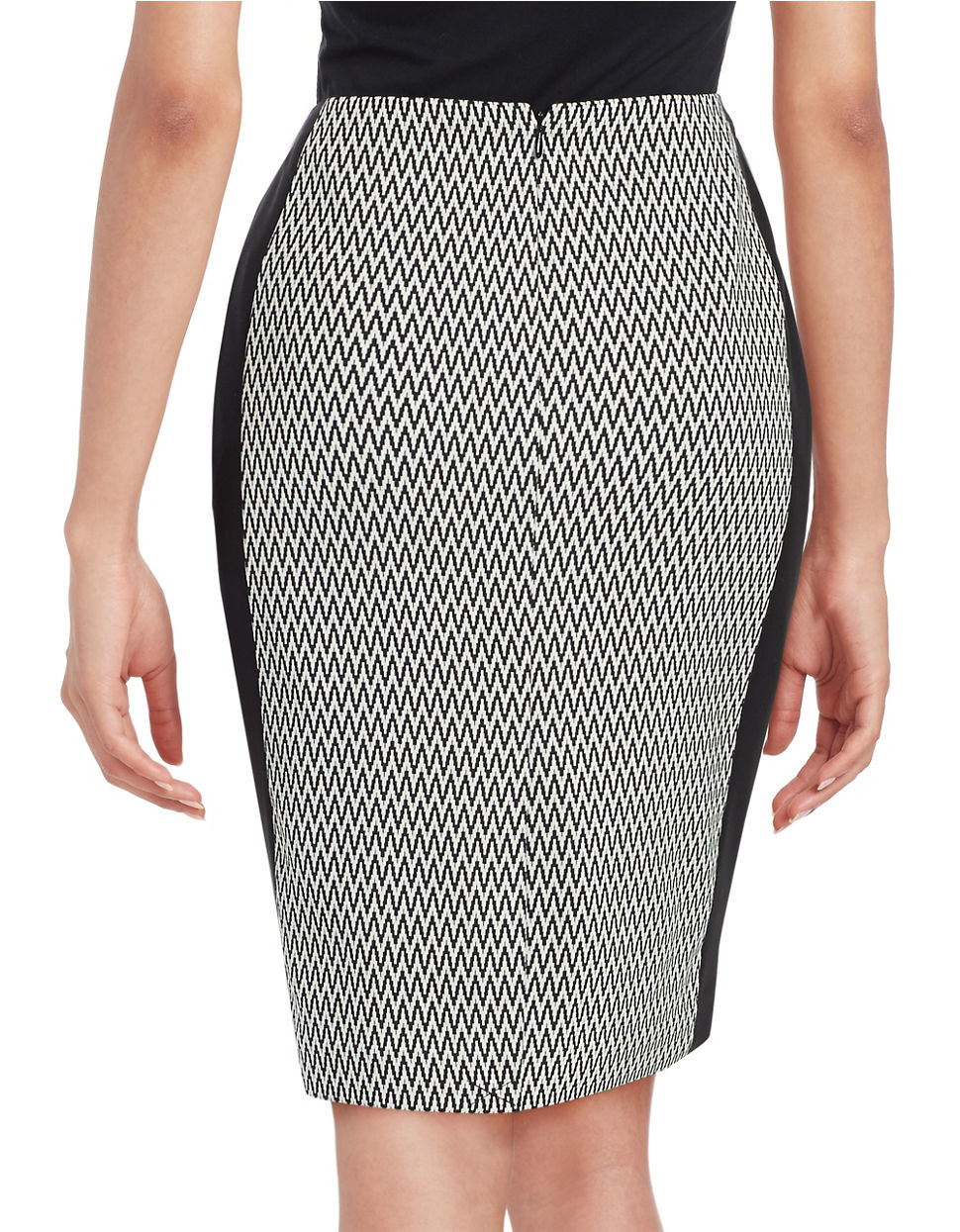 calvin klein patterned pencil skirt in black black