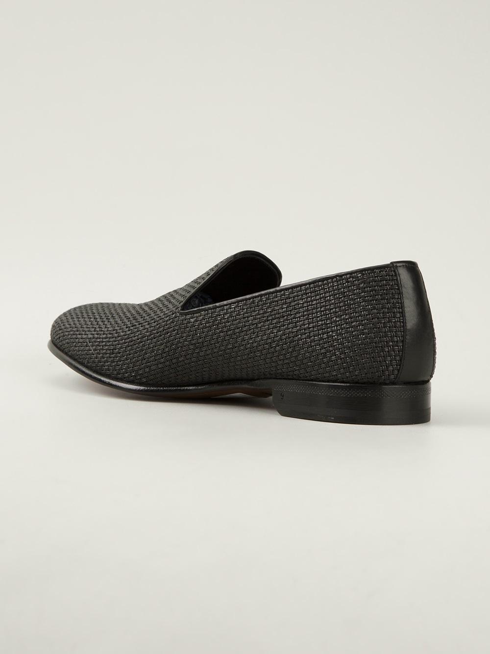 Sergio Rossi Woven Slipper in Black for Men