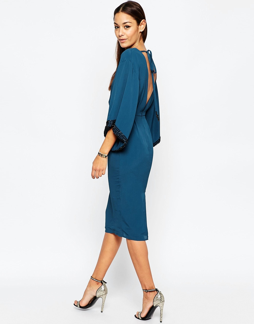 ad7bec5c8a798 Lyst - ASOS Embellished Trim Kimono Midi Dress in Blue