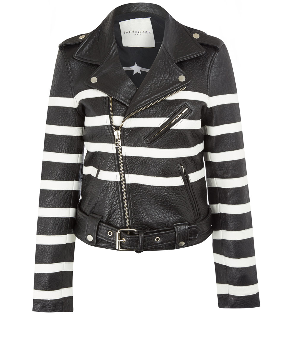 Lyst Each X Other Black And White Stripe Leather Jacket In Black