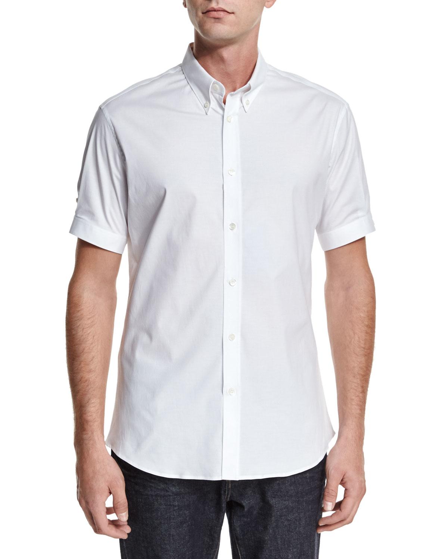 Alexander mcqueen short sleeve button down shirt in white for White short sleeve button down shirts for men
