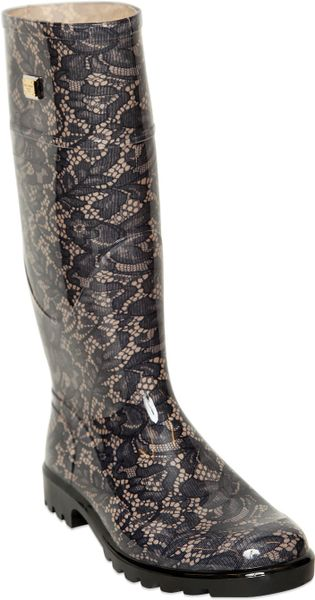 Dolce Amp Gabbana Lace Printed Rubber Rain Boots In Gray