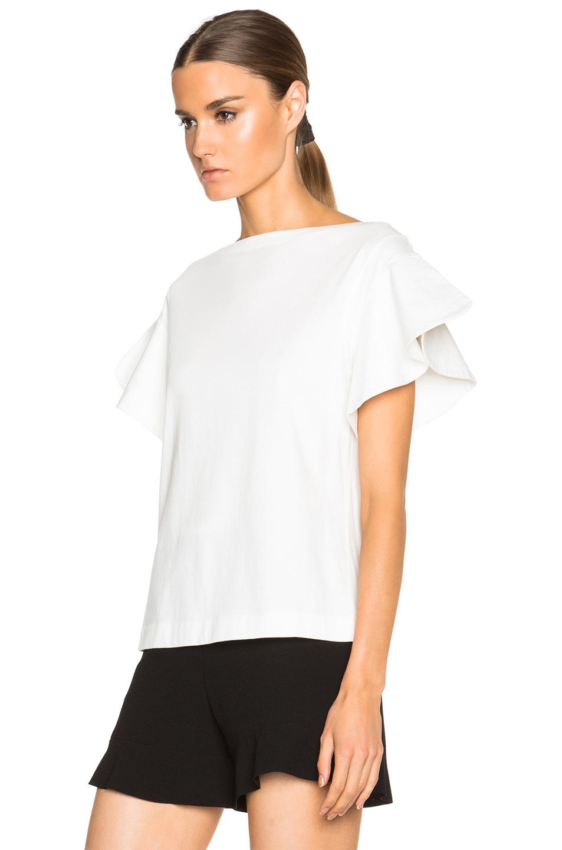 White Cotton Ruffle Blouse