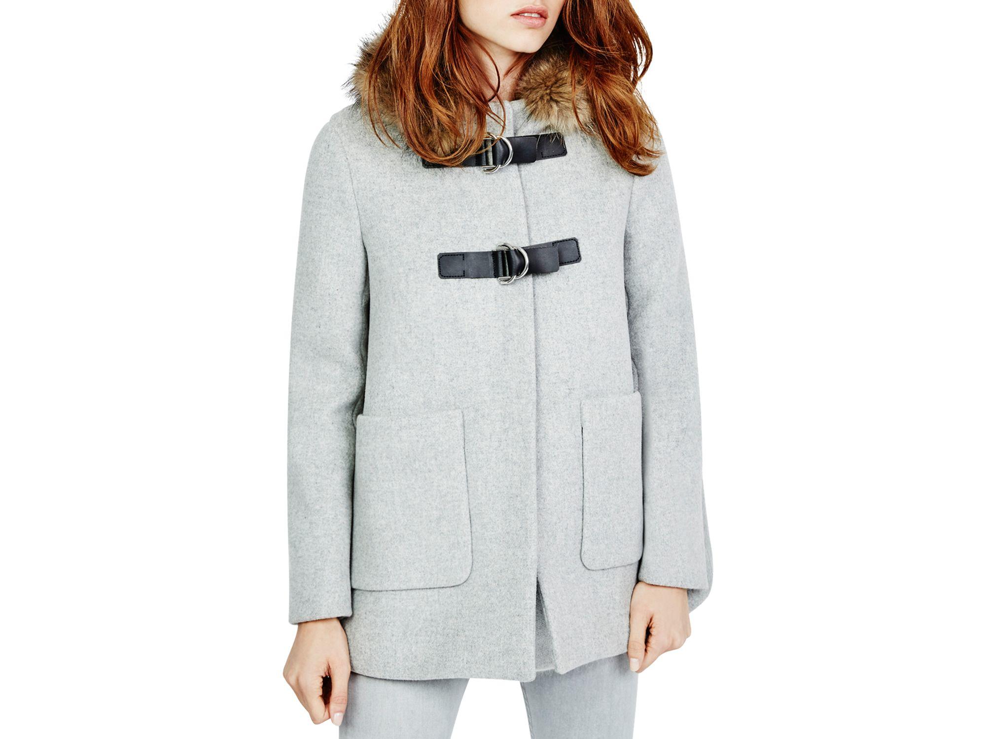 Maje Gatita Fur Trimmed Swing Coat in Gray | Lyst