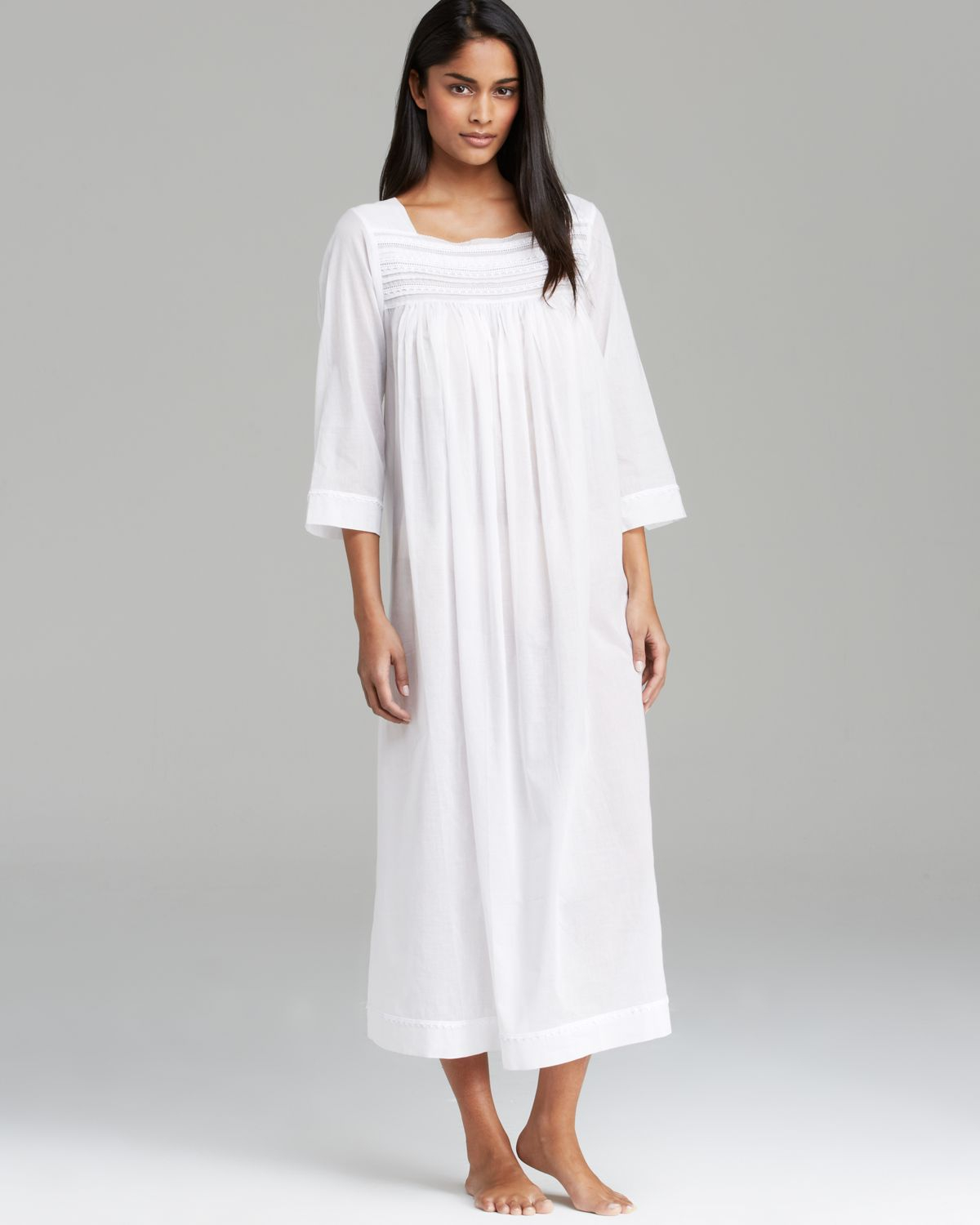 b907e9d612 Lyst - Oscar de la Renta Sheer Serenity Cotton Long Nightgown in White