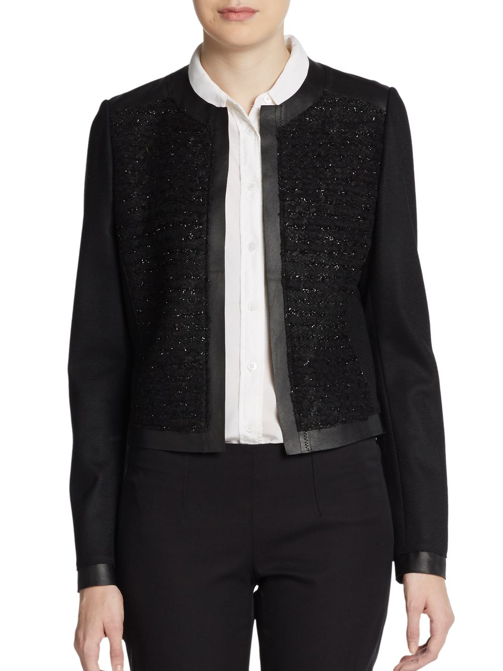 Elie tahari Pearson Leather trimmed Collarless Jacket in Black | Lyst