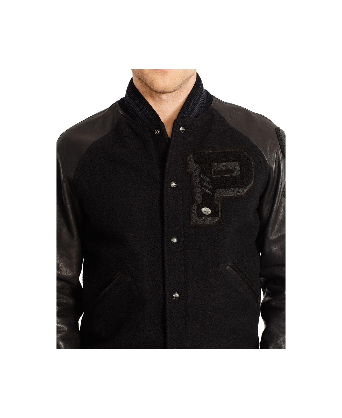 Polo Jacket Wool For Lauren Ralph Varsity Black Men oxBdrCeW