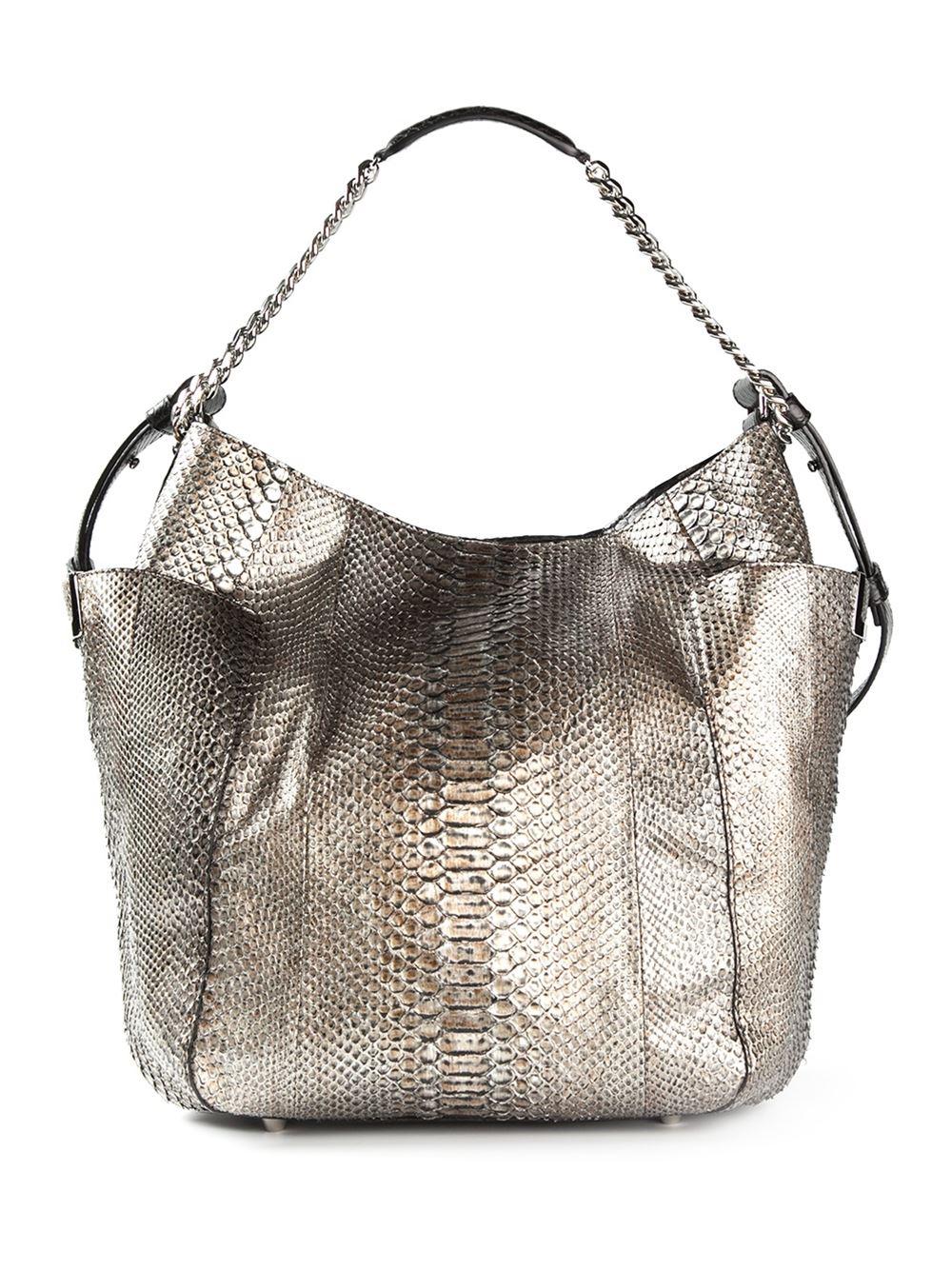 Jimmy Choo Anna Shoulder Bag In Metallic Brown Lyst