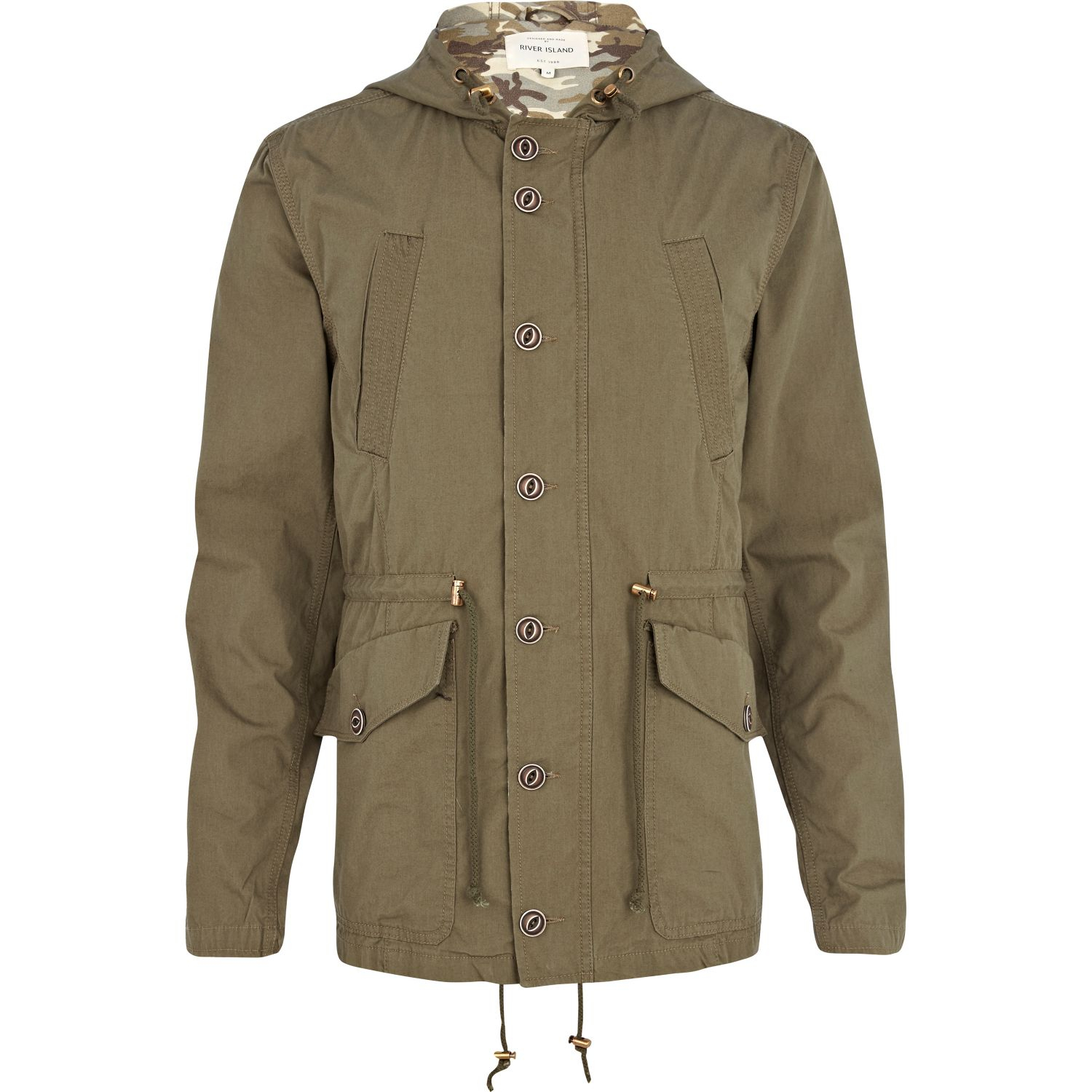 Layered with a ribbed collar, this long parka is made smooth cotton poplin with subtle padding at the body and hood for added warmth. Fully lined with a hidden inside pocket, it has raglan sleeves, a front pleat for a double-layered look and it is fastened with a concealed metal zip and press-studs.