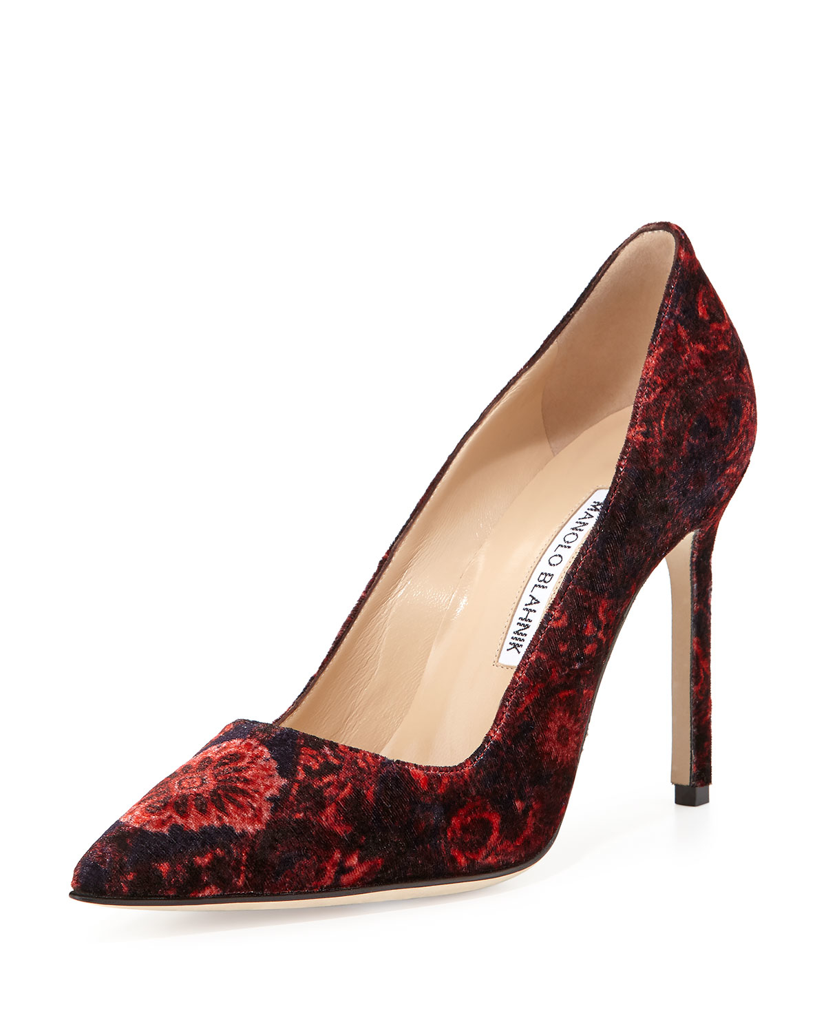 Lyst manolo blahnik bb floral velvet point toe pump in black for Who is manolo blahnik