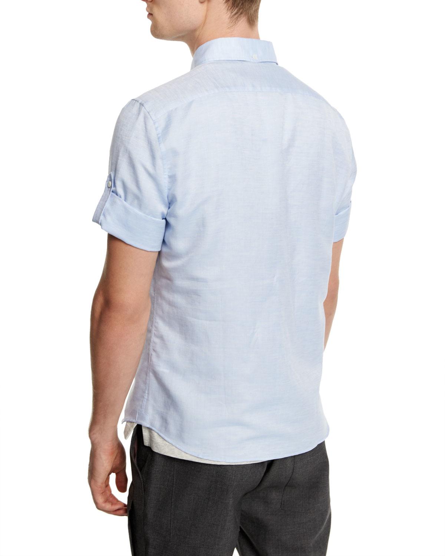 Brunello Cucinelli Short Sleeve Button Down Shirt In