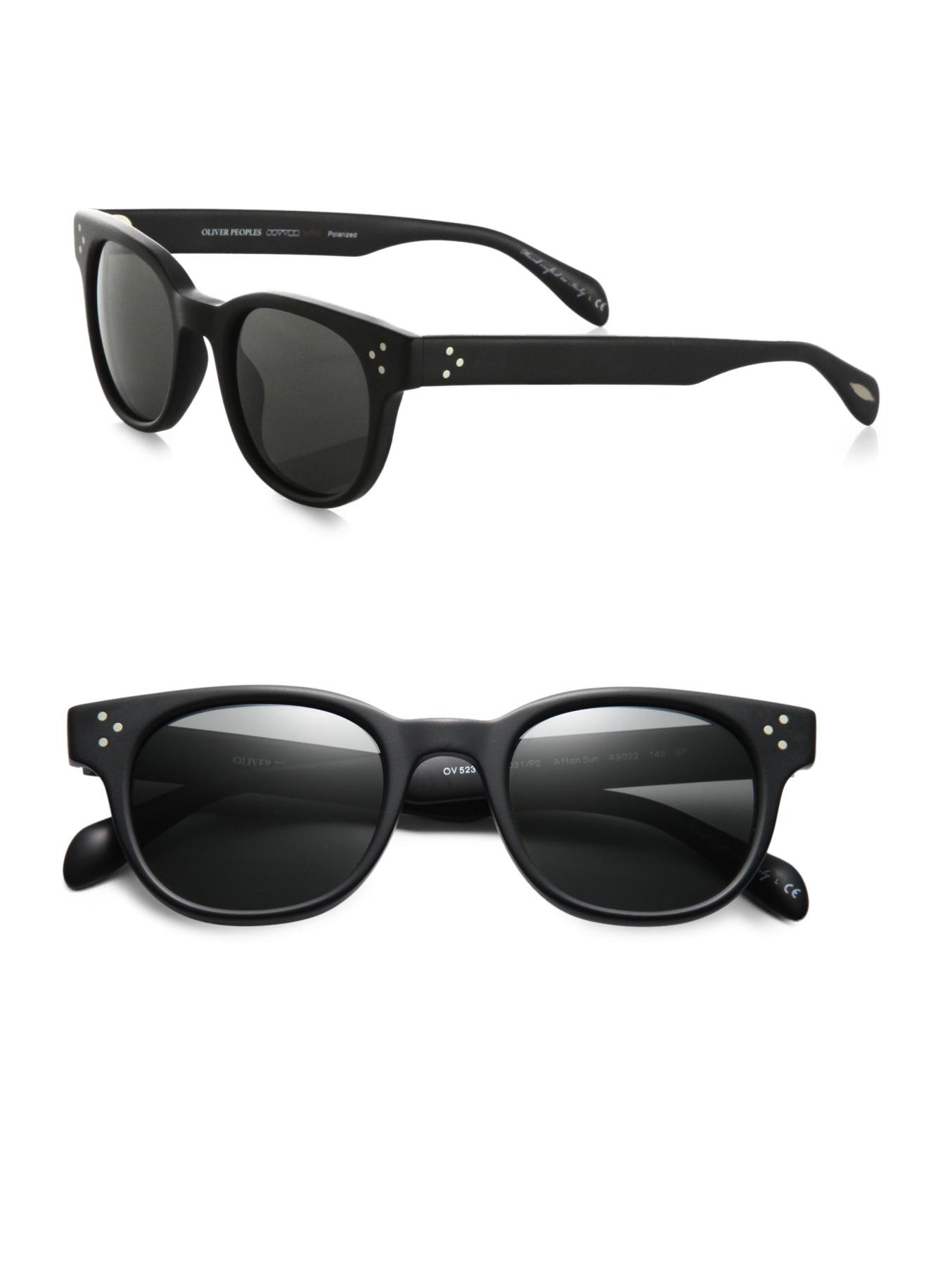 Oliver Peoples Afton Round Acetate Sunglasses In Black Lyst