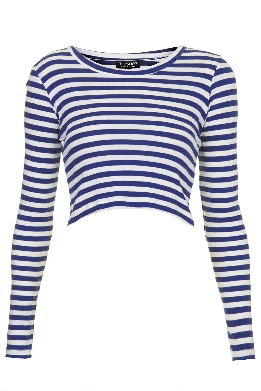 5aad3be73bd TOPSHOP Womens Long Sleeve Stripe Ribbed Crop Top Blue