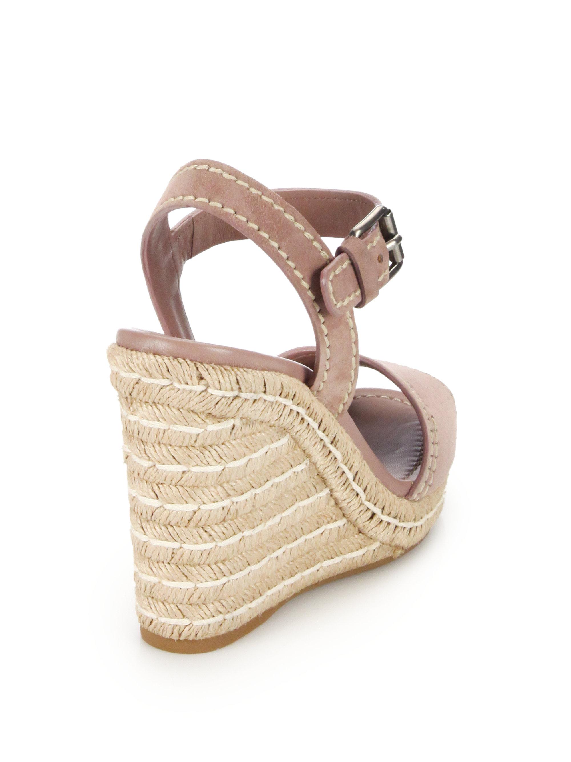 f87b50abb37 Prada Pink Suede Peep-toe Espadrille Sandals