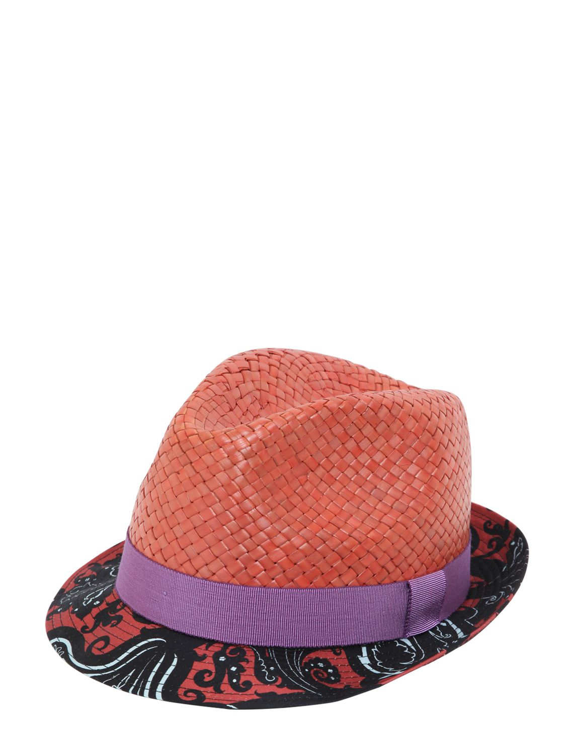 Lyst - Etro Woven Straw Hat With Printed Cotton Brim in Orange for Men 13023b6170d8
