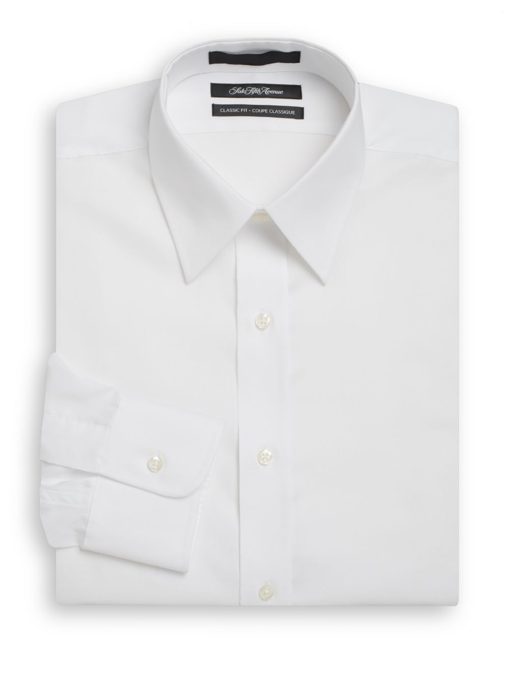 Saks fifth avenue classic fit dress shirt in white for men for Classic white dress shirt