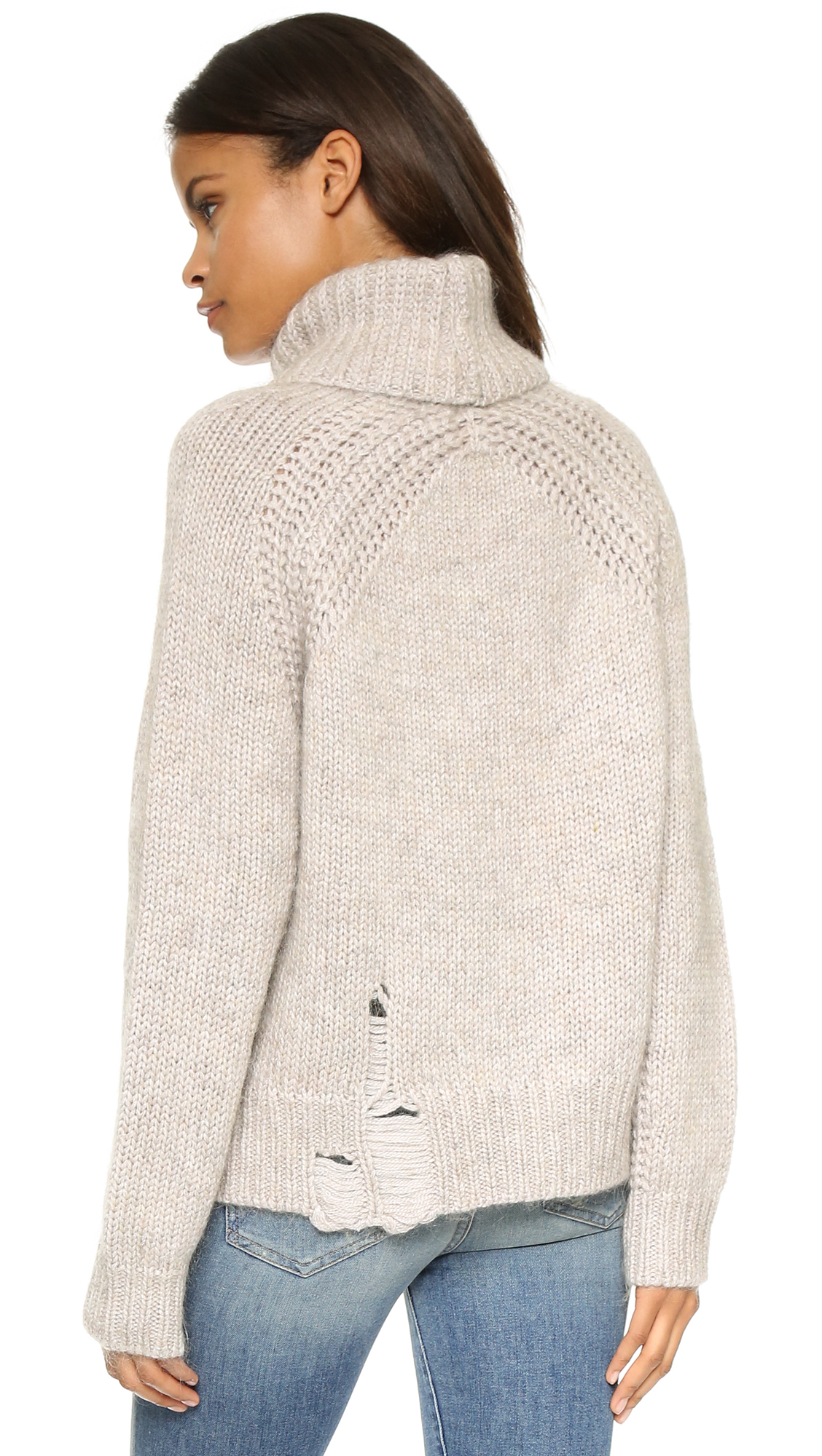 Raquel allegra Turtleneck Pullover Sweater in Natural   Lyst