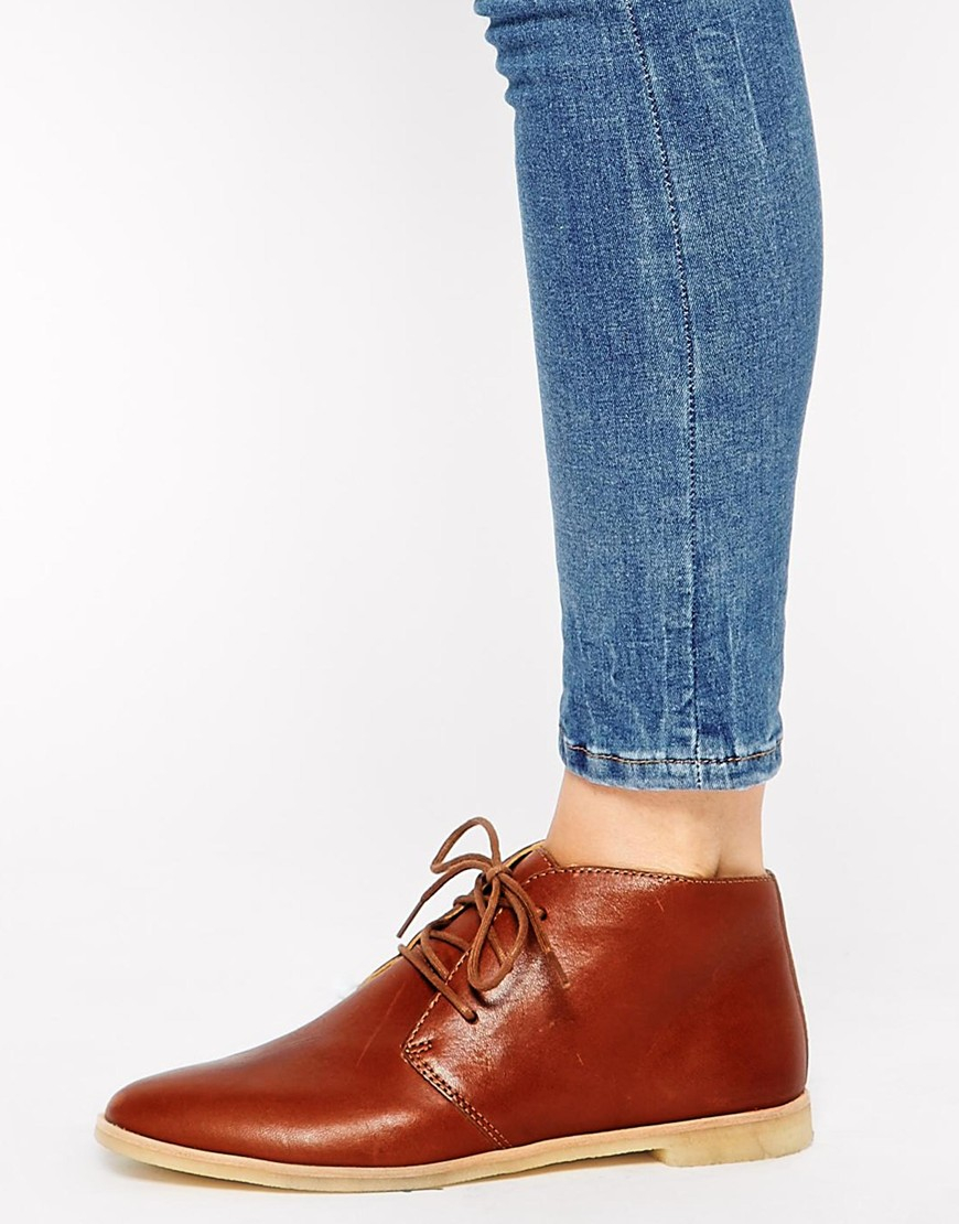 Lyst Clarks Phenia Tan Leather Desert Boots In Brown