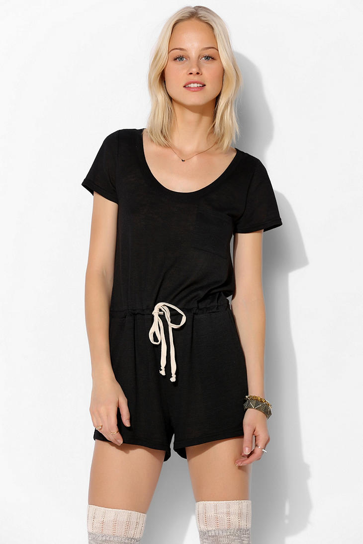 bd08d1c414c Lyst - Urban Outfitters Bdg Jersey Tee Shirt Romper in Black