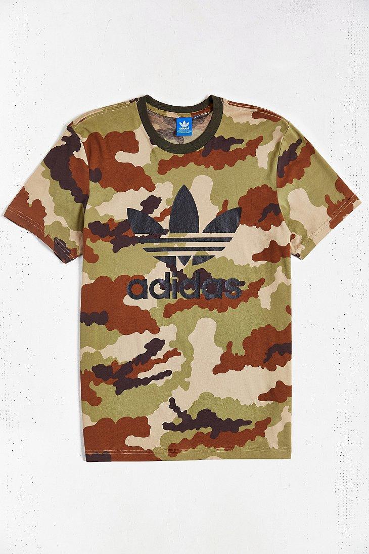 adidas originals camo trefoil t shirt khaki