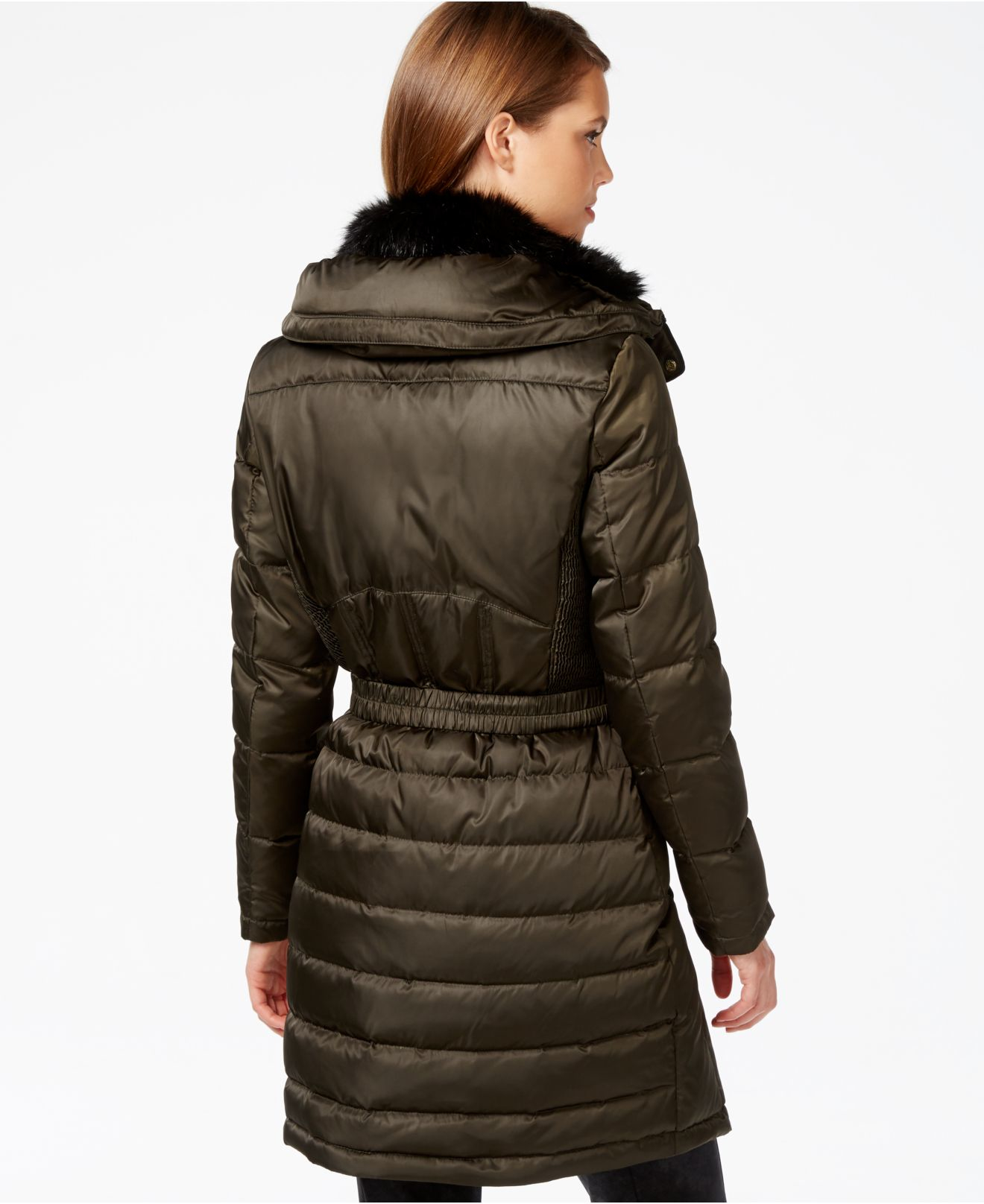 Vince camuto Faux-fur-lined Quilted Puffer Coat in Green | Lyst