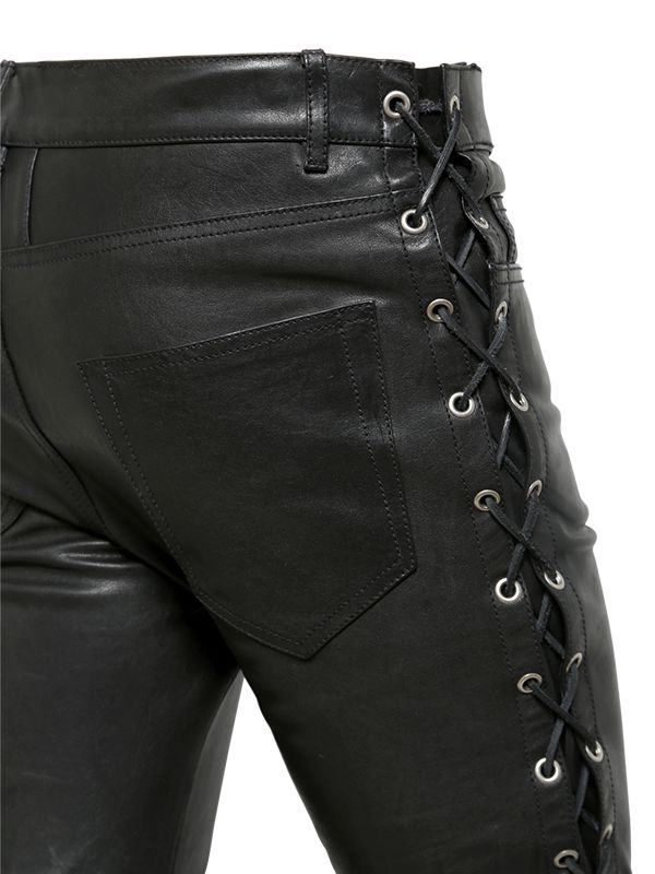 Saint Laurent 15cm Skinny Lace Up Leather Jeans In Black