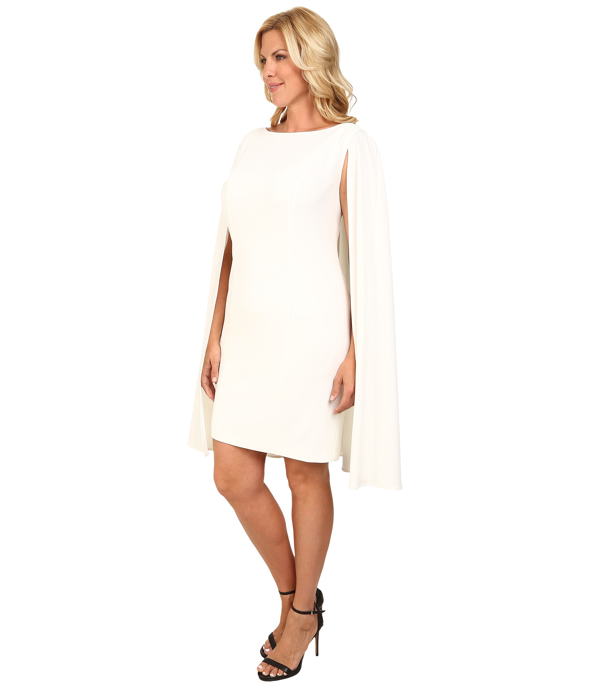 Plus Size Structured Cape Sheath Dress