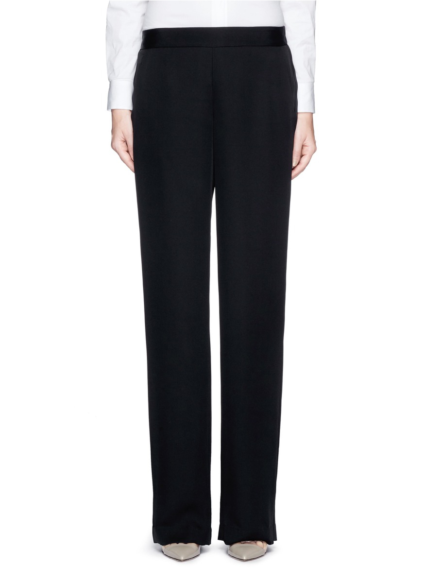 Theory 'mitrana' Silk Pants in Black | Lyst