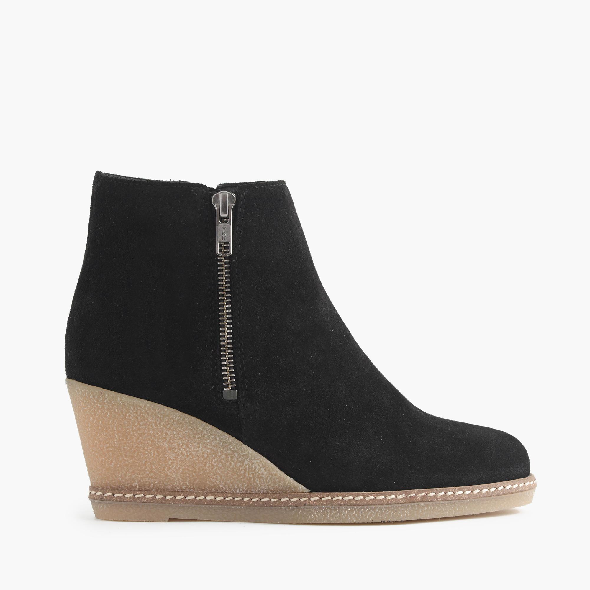 j crew macalister zip wedge boots in black lyst