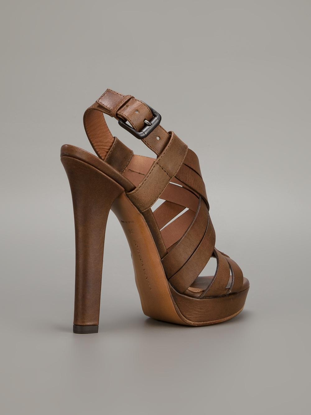 Lyst Bottega Veneta Strappy Sandal In Brown