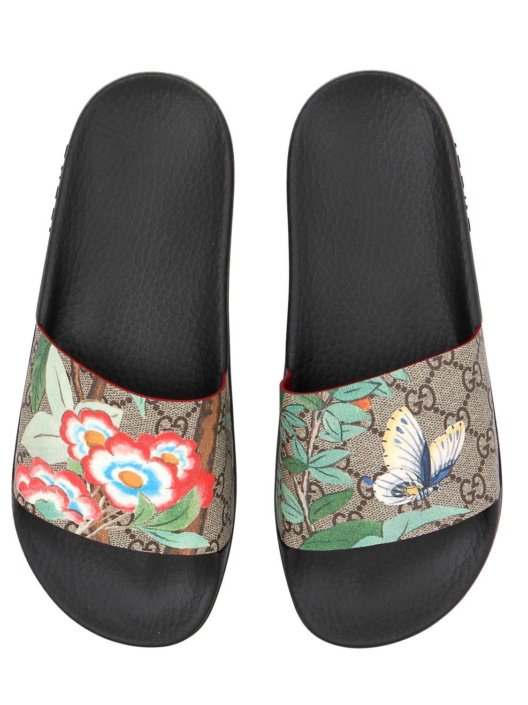 fb5b0617ec8 Lyst - Gucci 20mm Pursuit Gg Supreme Slide Sandals