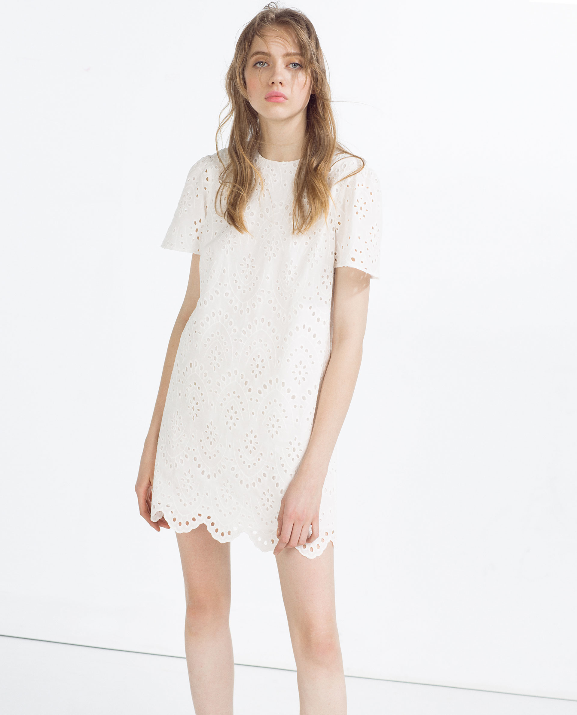 White dress at zara - Gallery Of Zara Embroidered Dress In White Off White Lyst
