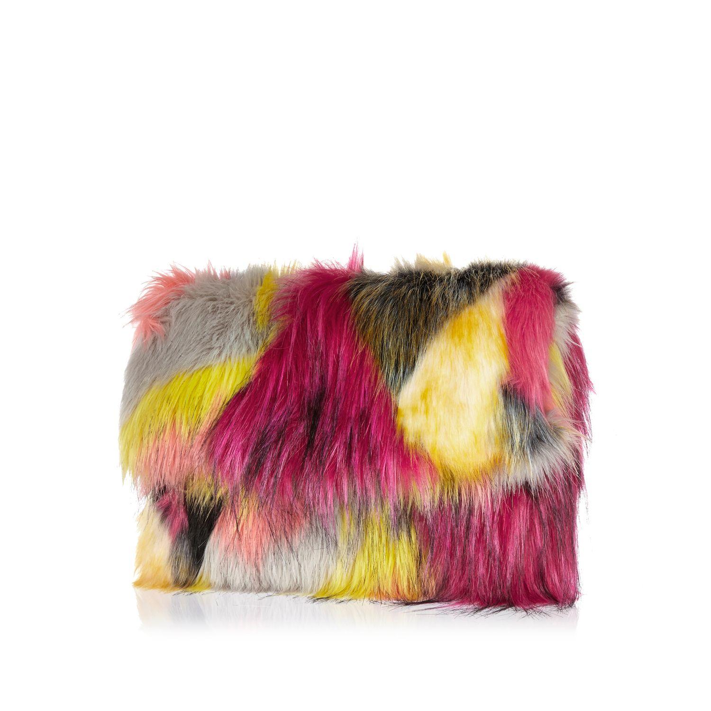 9381f22db6 River Island Pink Faux Fur Clutch Bag in Pink - Lyst