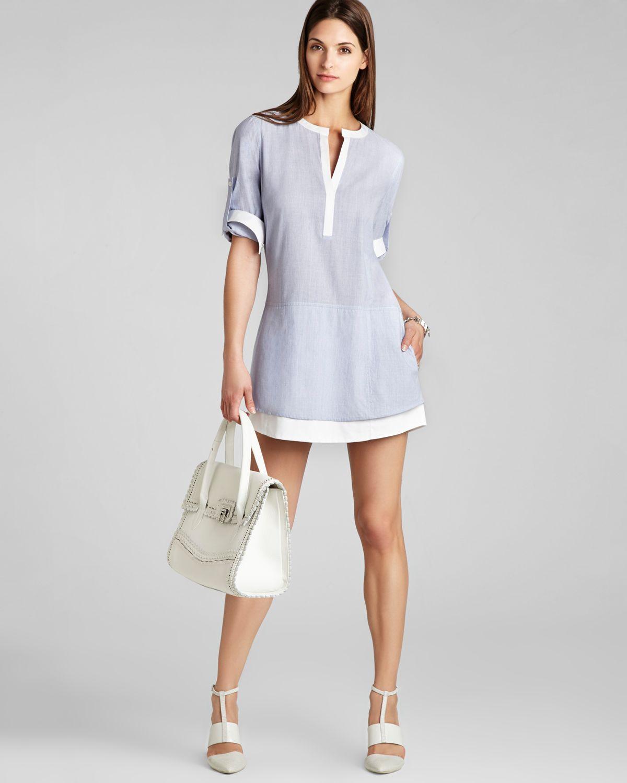 Bcbgmaxazria Kelci Shirt Dress In Chambray White Combo