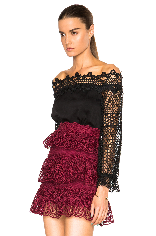 100155d9d8fe7 Lyst - Self-Portrait Lace Off The Shoulder Top in Black