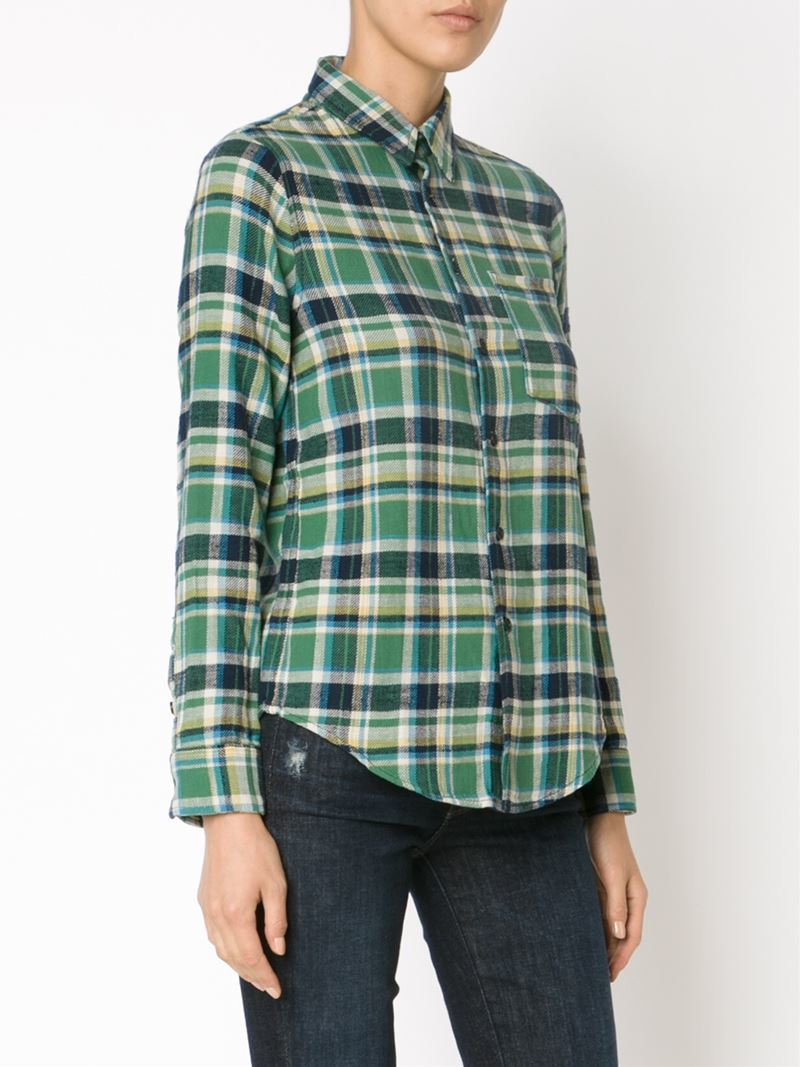 Lyst Mother Checked Shirt In Green