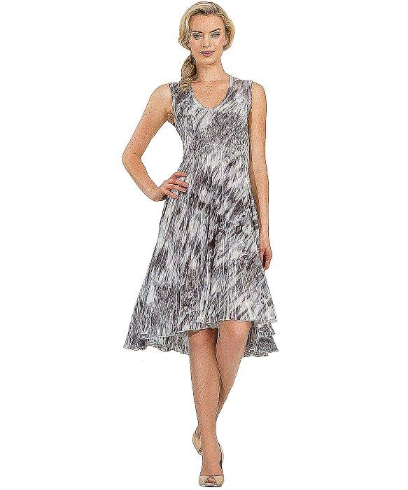Lyst Komarov Georgette Sleeveless Asymmetrical Dress In Gray
