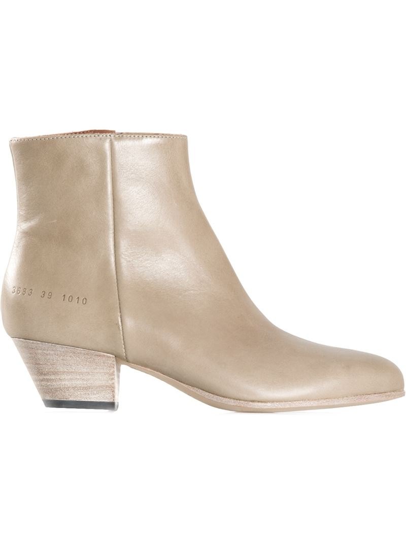 Common Projects Calf-Leather Ankle Boots in Natural