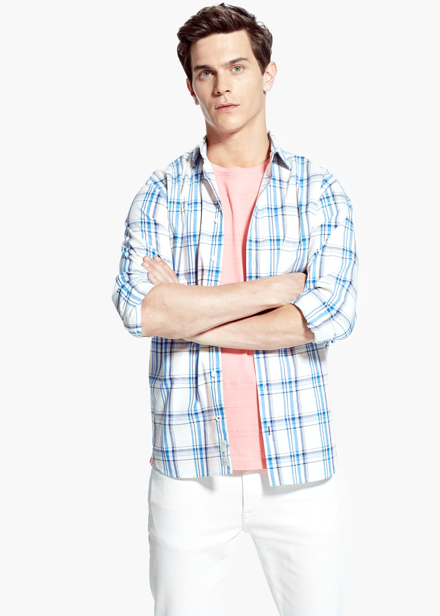 Mango slim fit madras check shirt in blue for men white for Slim fit check shirt