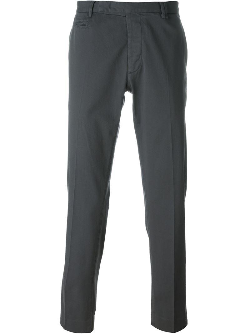 Fendi Straight Leg Trousers in Gray for Men