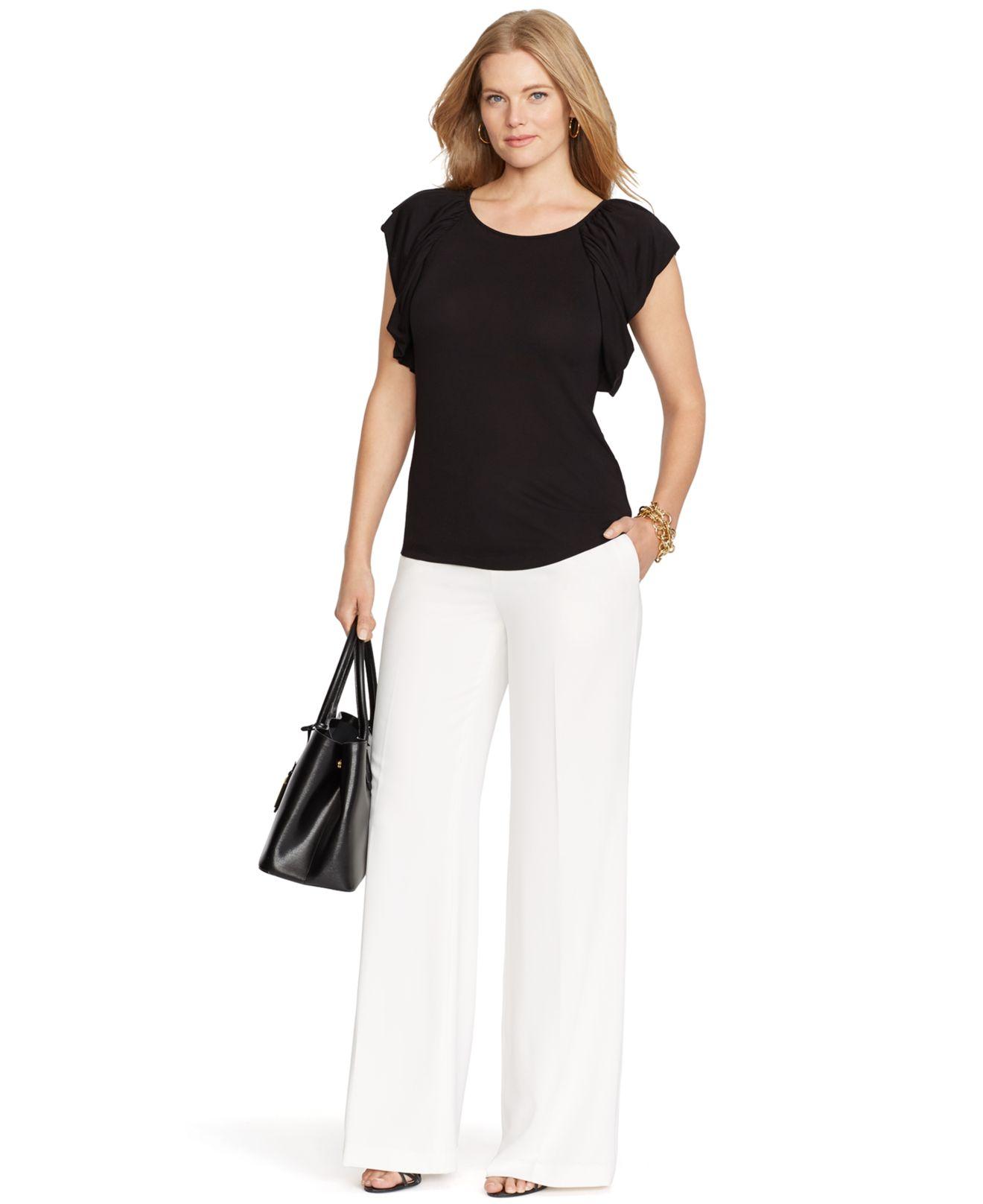 Lauren by ralph lauren Plus Size Wide-Leg Pants in White | Lyst