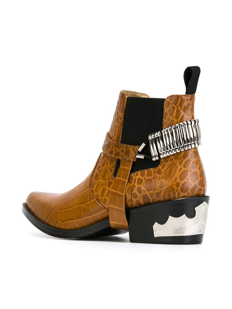 Toga pulla Leather Western Ankle Boots in Natural | Lyst