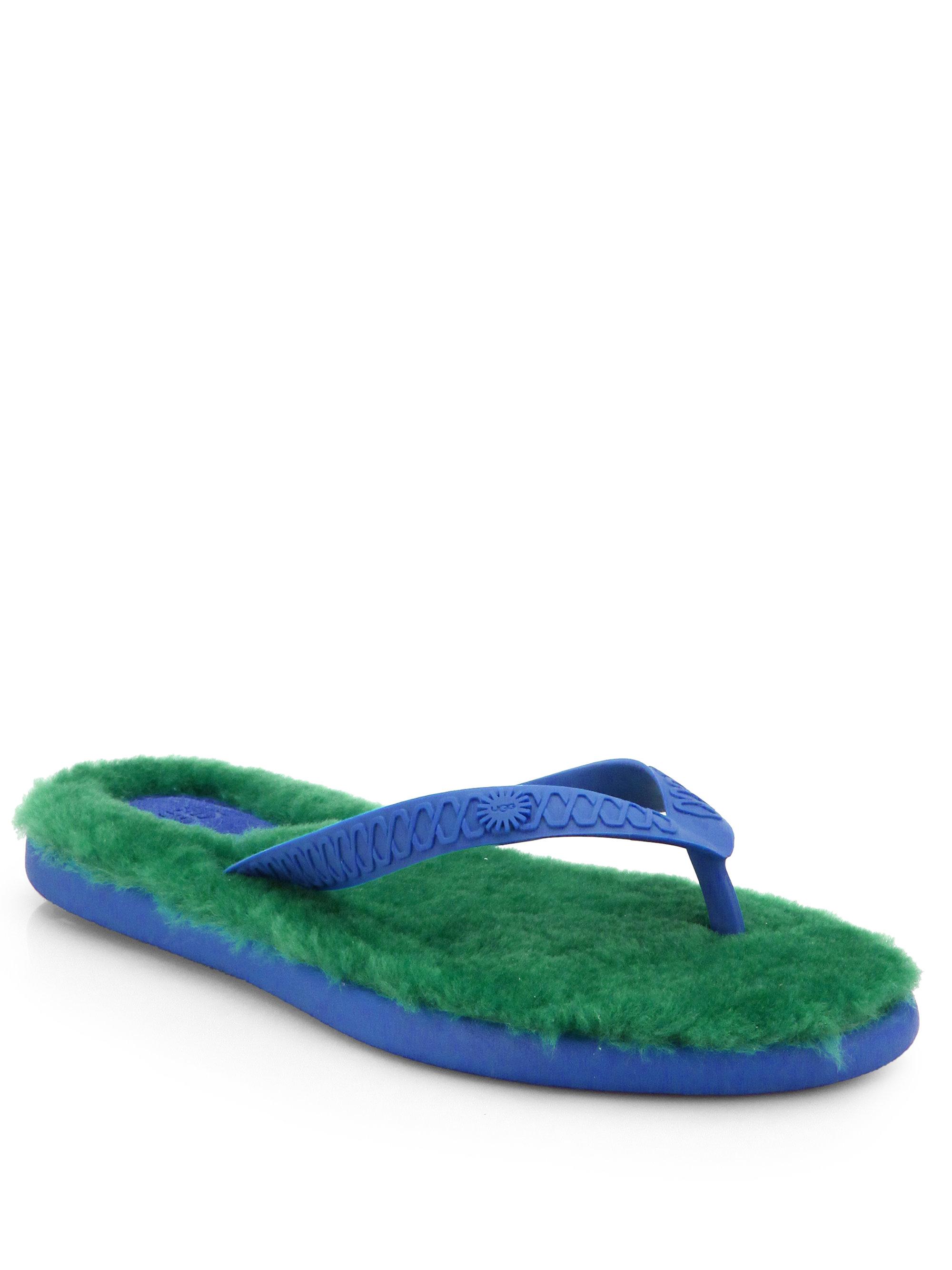 Ugg Fluffie Shearling Lined Flip Flops In Green Lyst