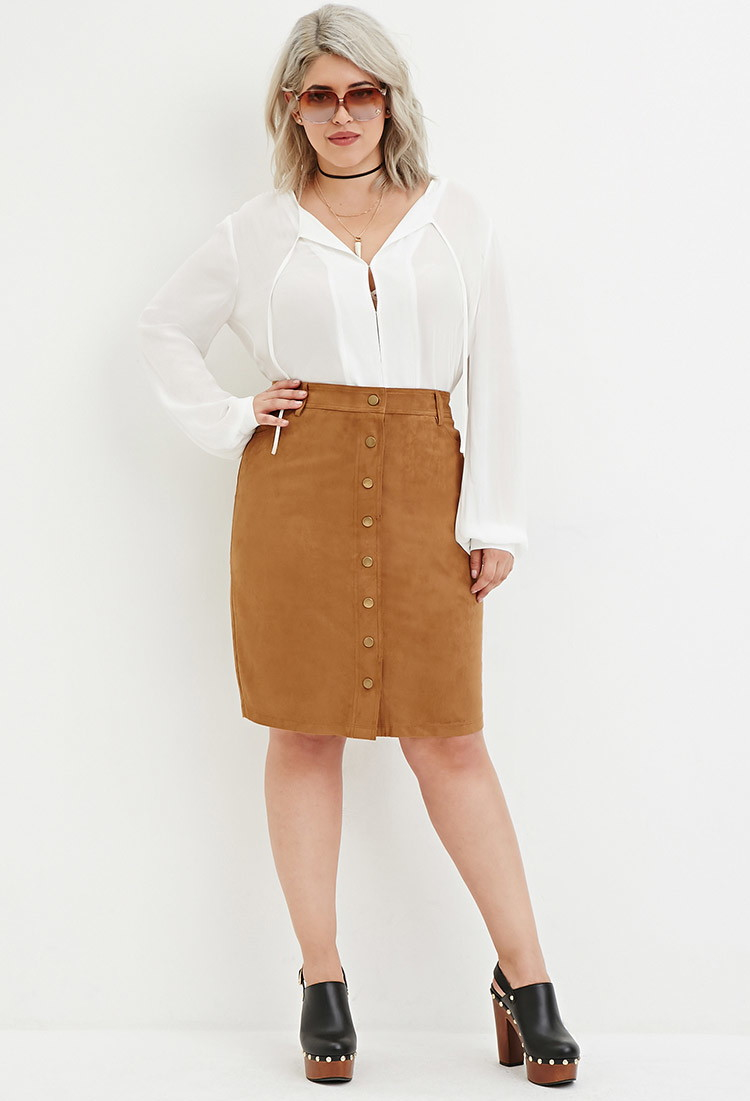 Forever 21 Plus Size Button-front Faux Suede Skirt in Natural | Lyst