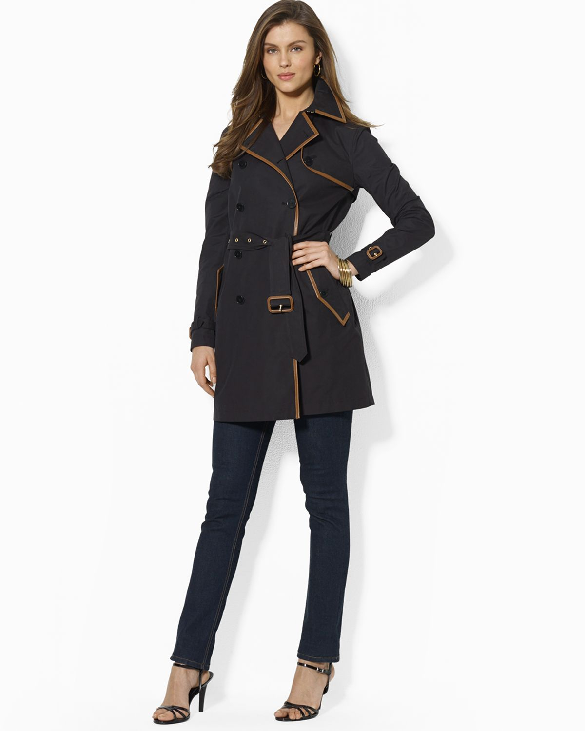 c16e9623 Ralph Lauren Black Belted Trench Coat with Faux Leather Trim