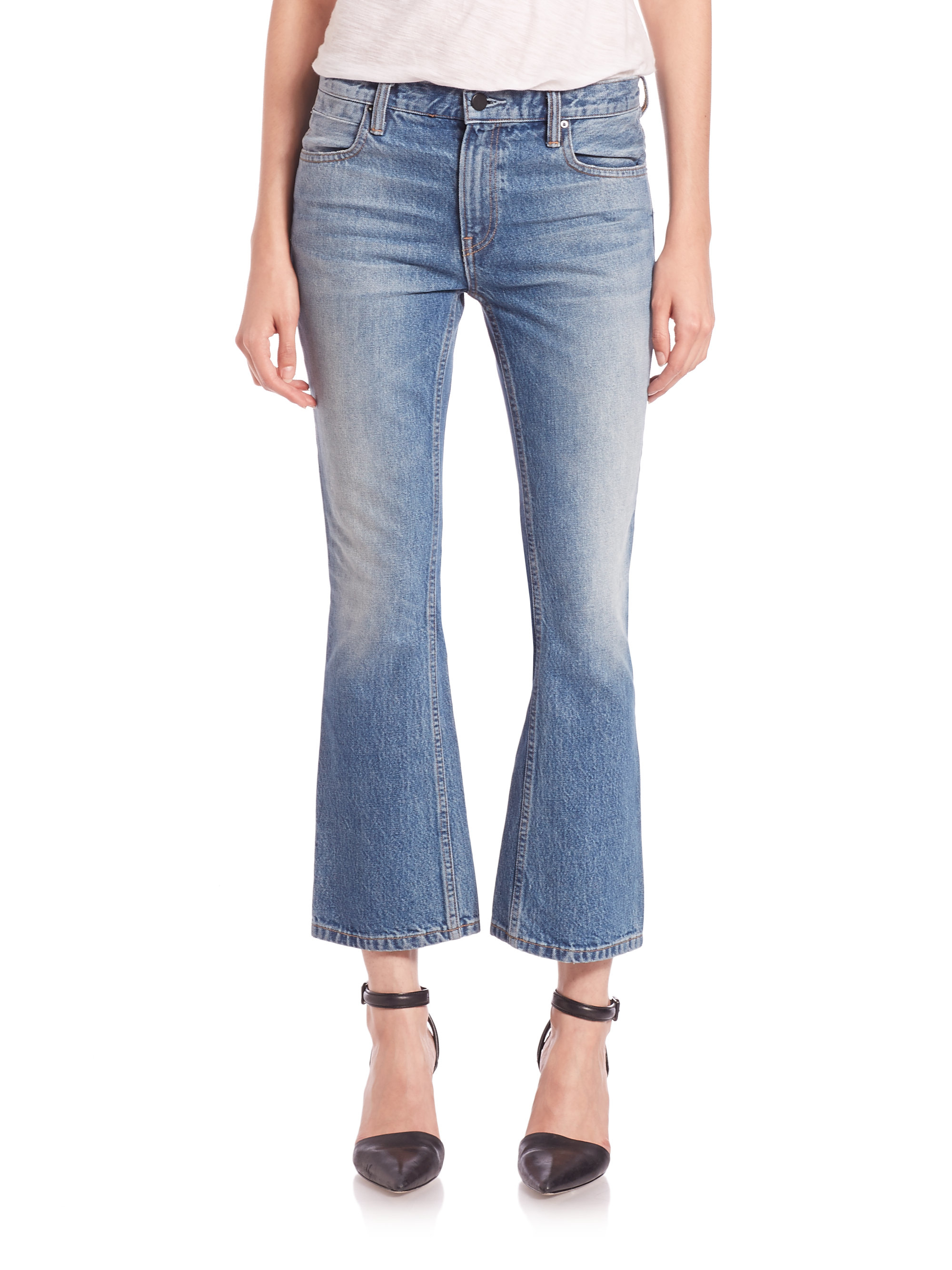 Alexander wang Denim X Trap Cropped Bootcut Jeans in Blue | Lyst