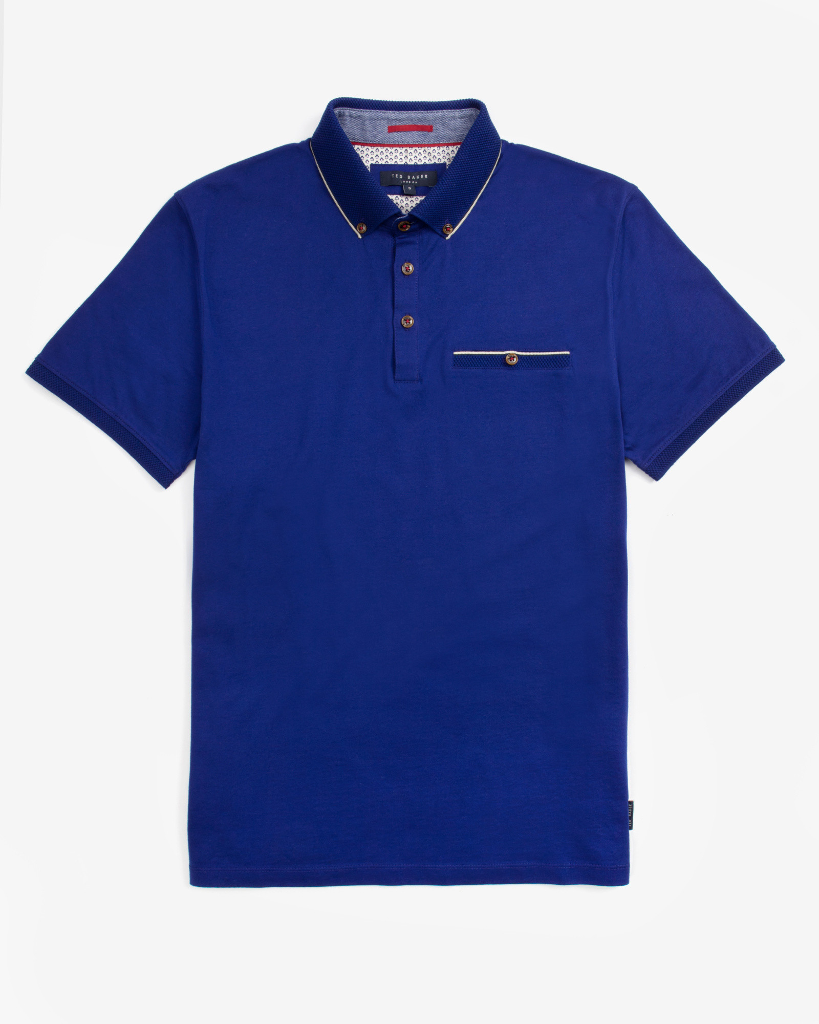 Ted baker knitted collar polo shirt in blue for men lyst for Ted baker blue shirt