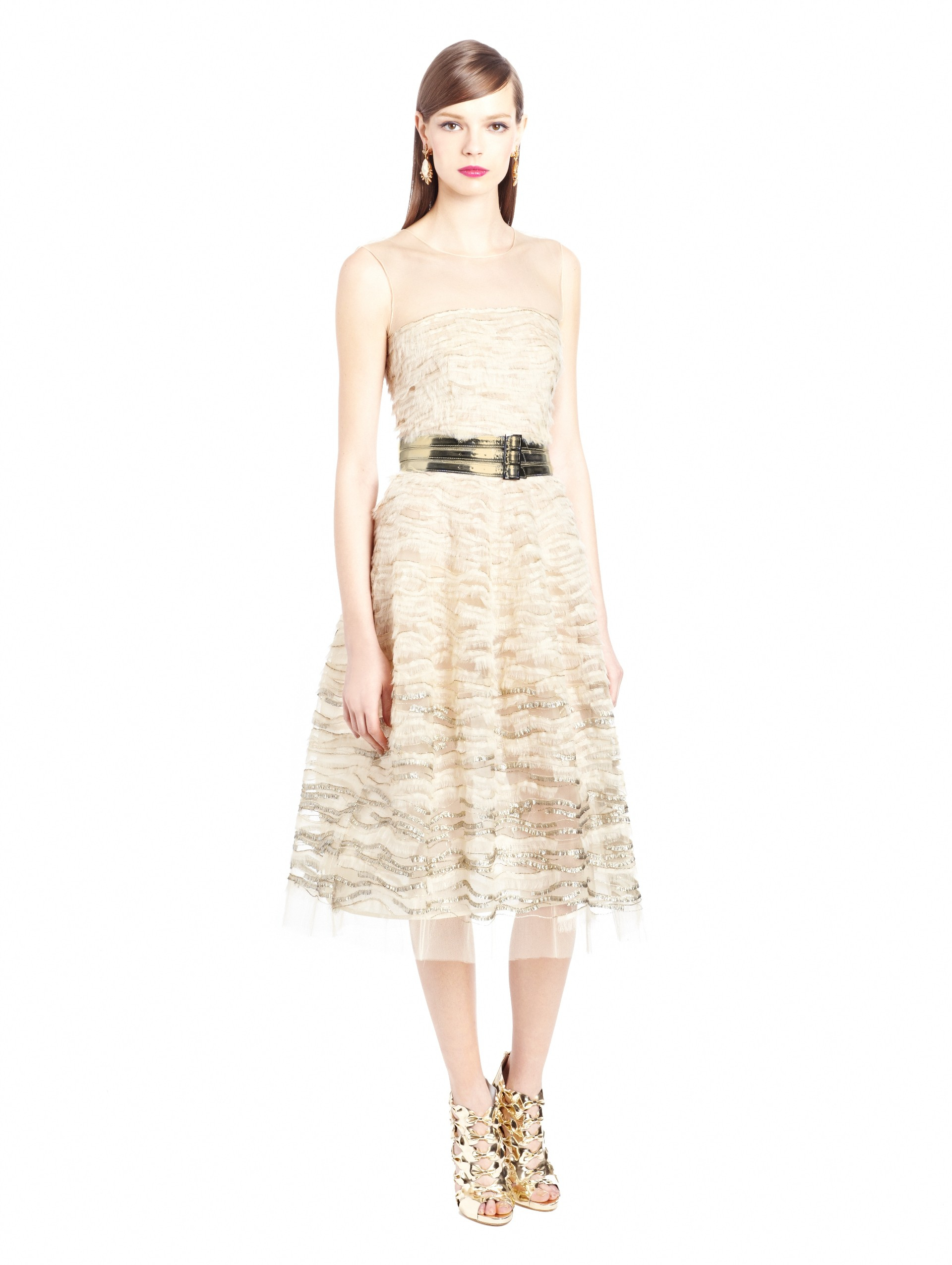 Oscar De La Renta Lame Embroidered Tulle Cocktail Dress In