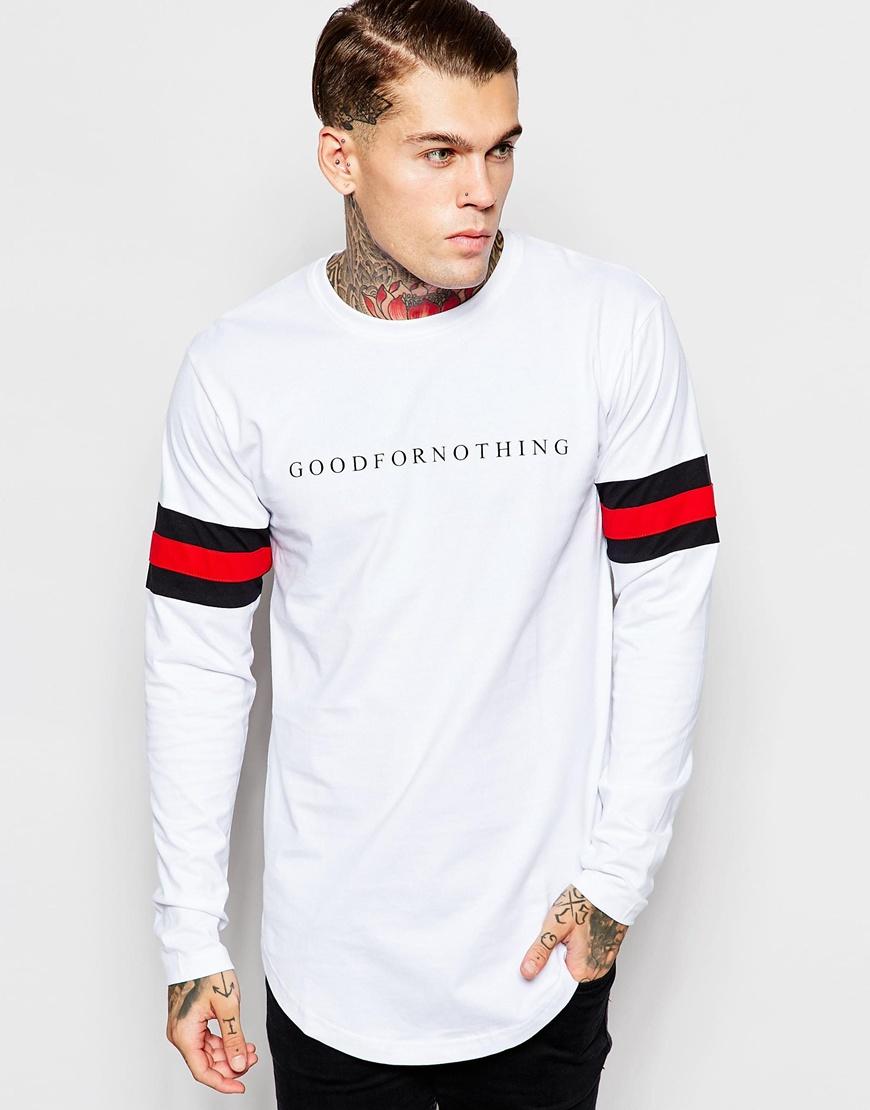 Good for nothing Long Sleeve T-shirt in White for Men | Lyst